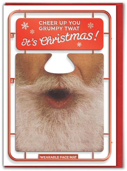 Grumpy Twat Christmas Card With Face Mat