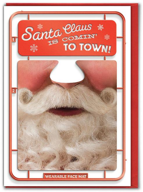 Santa Comin' Christmas Card & Face Mat