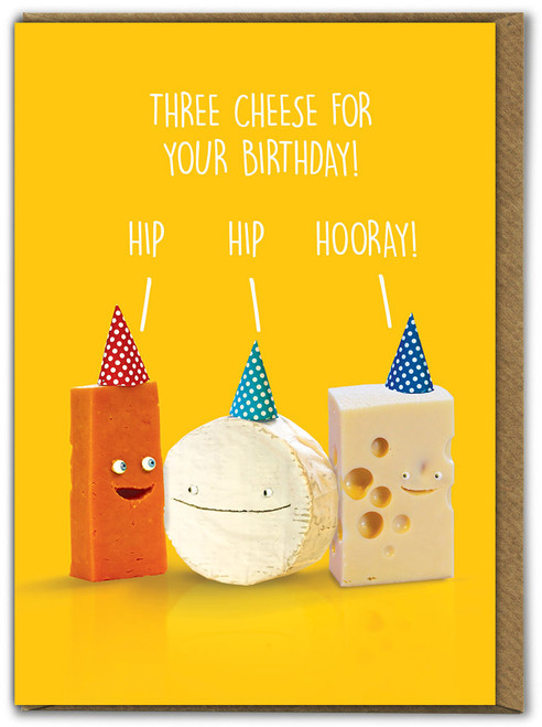 Three Cheese For Your Birthday Card
