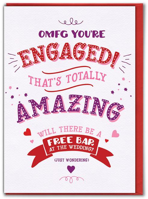 Engaged! Free Bar? Engagement Card