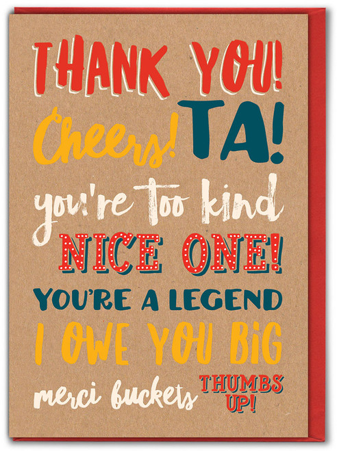 Thank You, Cheers, Ta! Greetings Card - Multi Pack Options Available