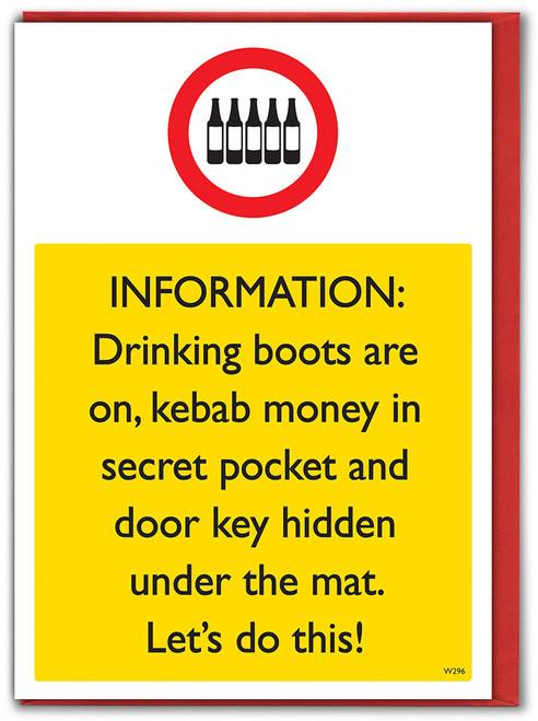 Drinking Boots Birthday Card