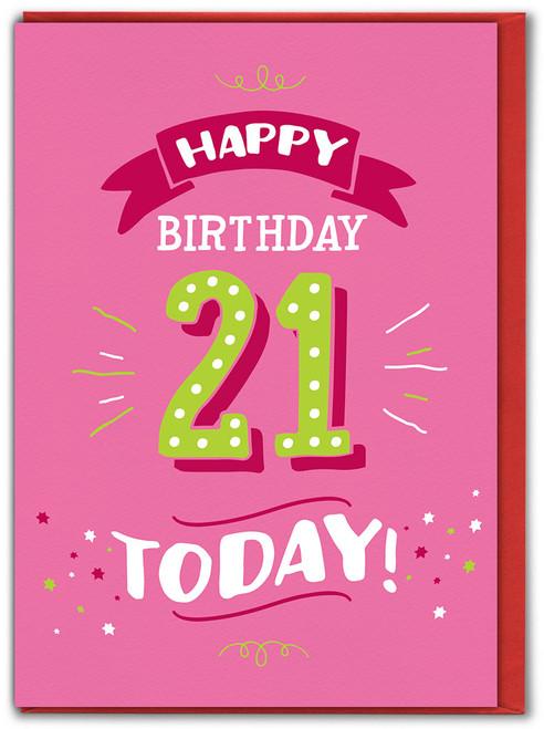 21st Birthday Greetings Card (FIZZ050)