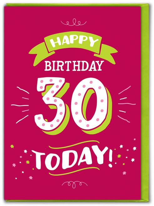 30th Birthday Greetings Card (FIZZ051)
