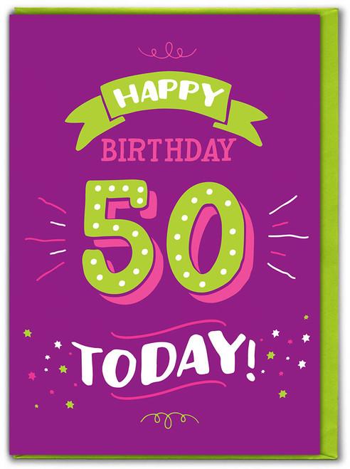 50th Birthday Greetings Card (FIZZ053)