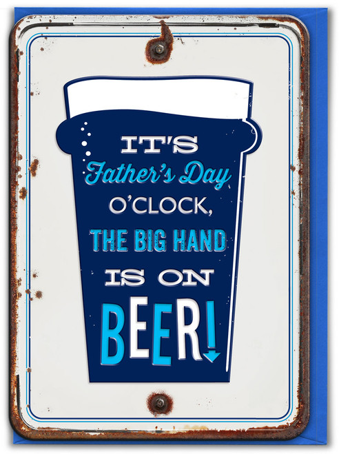 Big Hand Is On Beer! Embossed Father's Day Card
