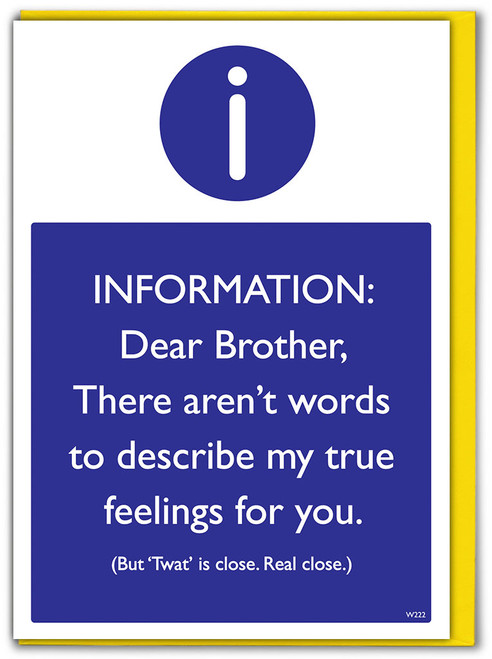 Brother No Word Birthday Greetings Card (W222)