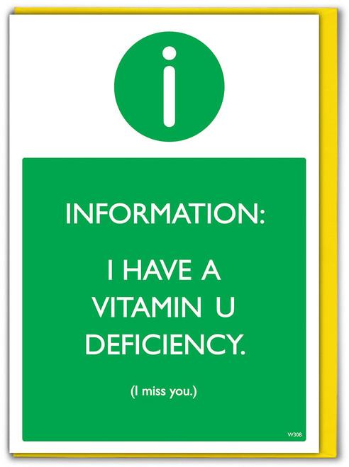Vitamin U Deficiency Greetings Card