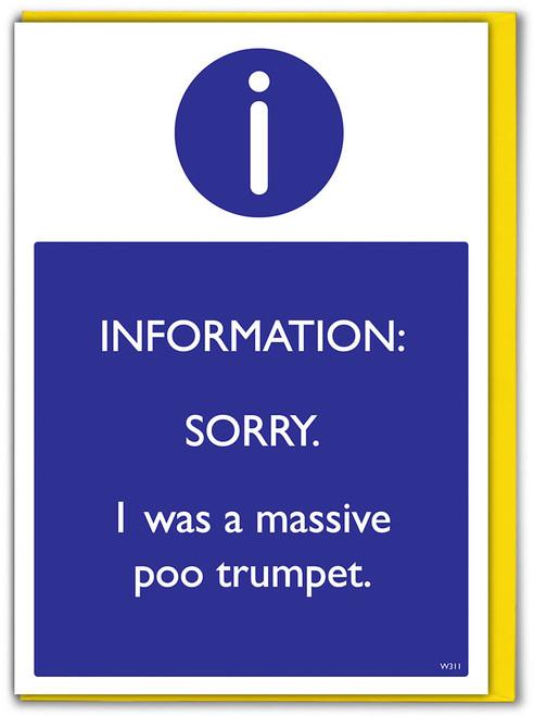 Sorry Poo Trumpet Greetings Card