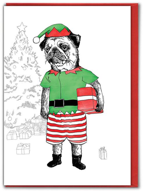 Pug Elf Christmas Card