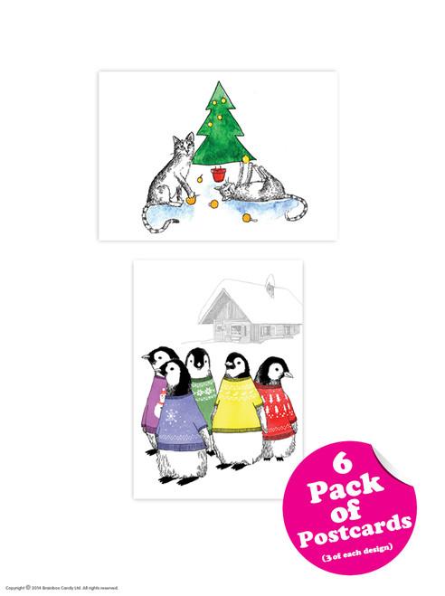 6 Pack of Christmas Postcards - Jimbobart Range