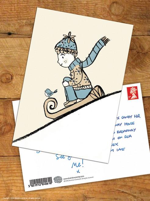 Boy Sledge Christmas Postcard