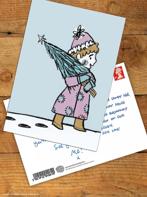 Carrying Tree Christmas Postcard