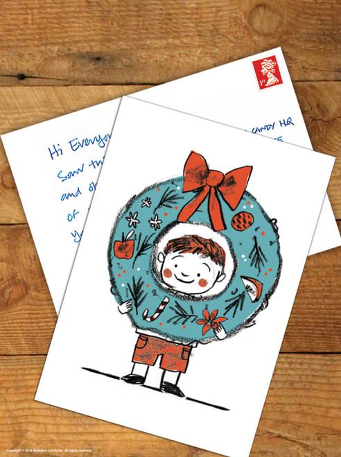 Boy Wreath Christmas Postcard