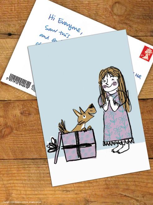 Puppy Present Christmas Postcard