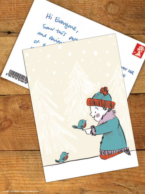 Girl Robins Christmas Postcard