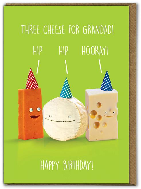 Three Cheese For Grandad Birthday Card