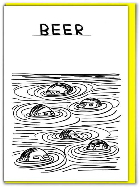 David Shrigley Beer Swimmers Greetings Card