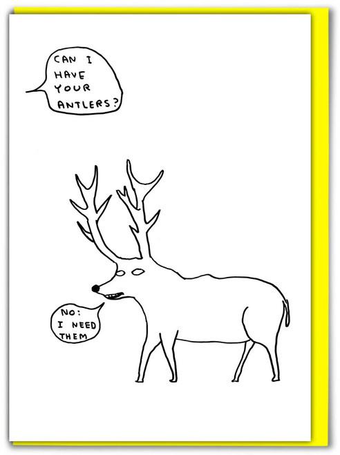 David Shrigley Antlers Greetings Card
