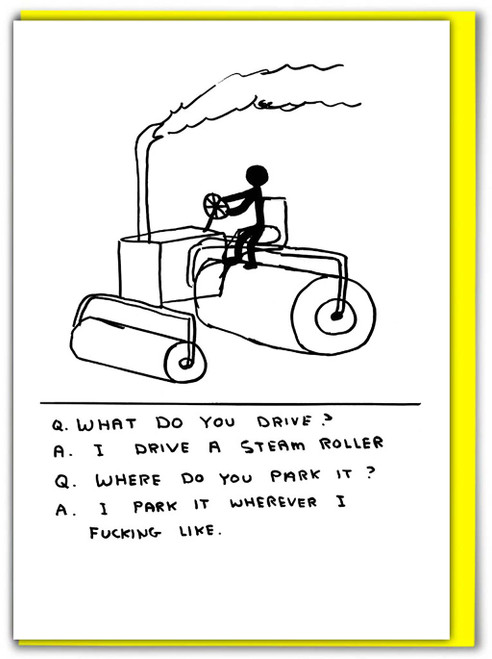 David Shrigley Steam Roller Greetings Card