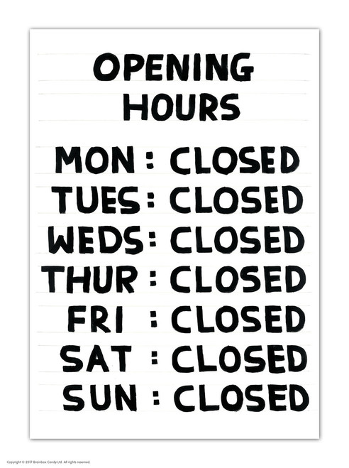 David Shrigley Opening Hours Postcard