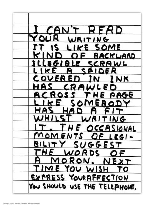David Shrigley I Can't Read Postcard