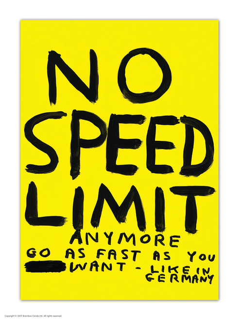 David Shrigley No Speed Limit Postcard