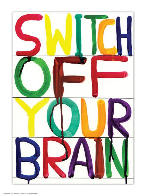 David Shrigley Switch Off Brain Postcard