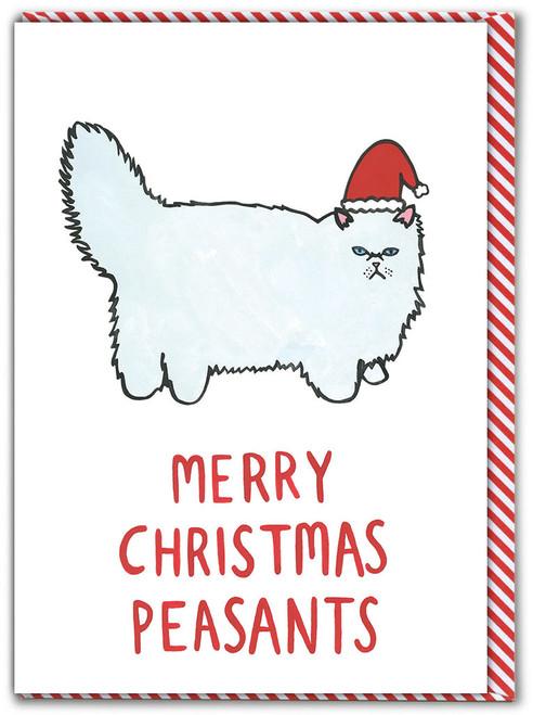 Cat Peasant Christmas Card