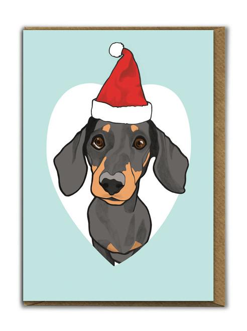 Cute A6 Dachshund Christmas Card