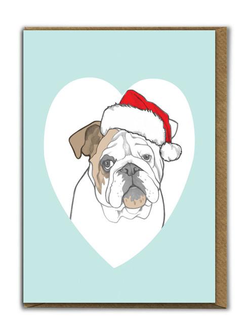 Cute A6 Bulldog Christmas Card