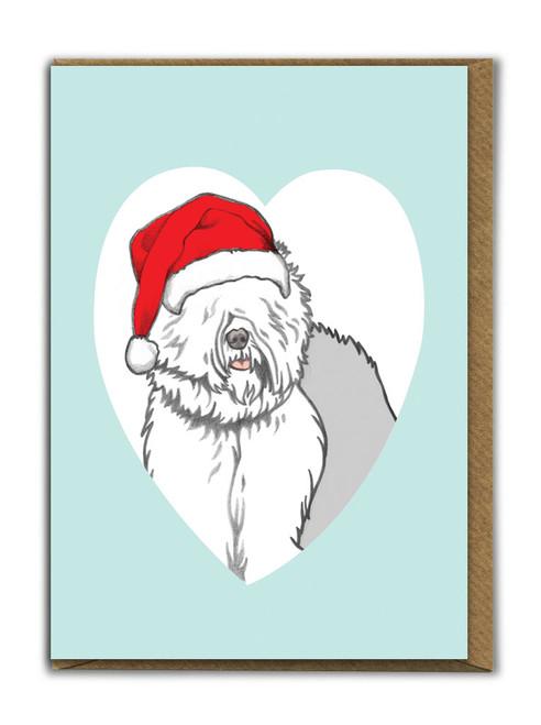 Cute A6 Old English Sheepdog Christmas Card