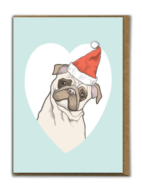 Cute A6 Pug Christmas Card