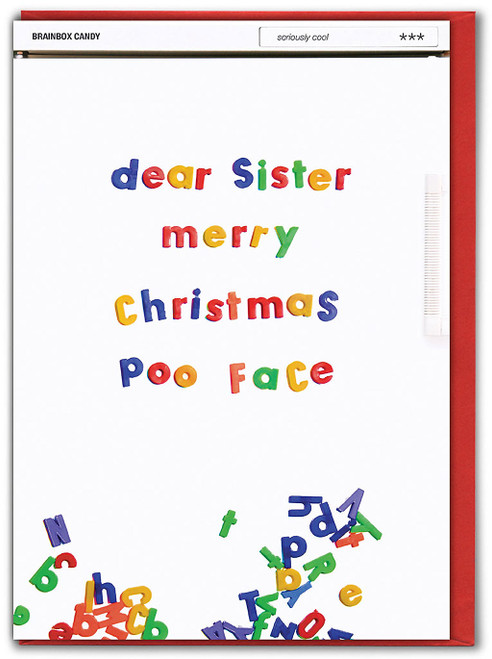 Sister Merry Xmas Poo Face Christmas Card