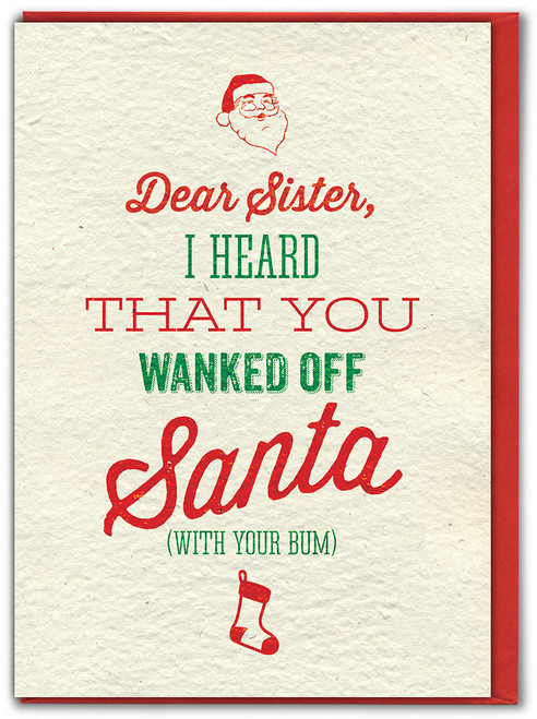 Sister Santa Wank Christmas Card