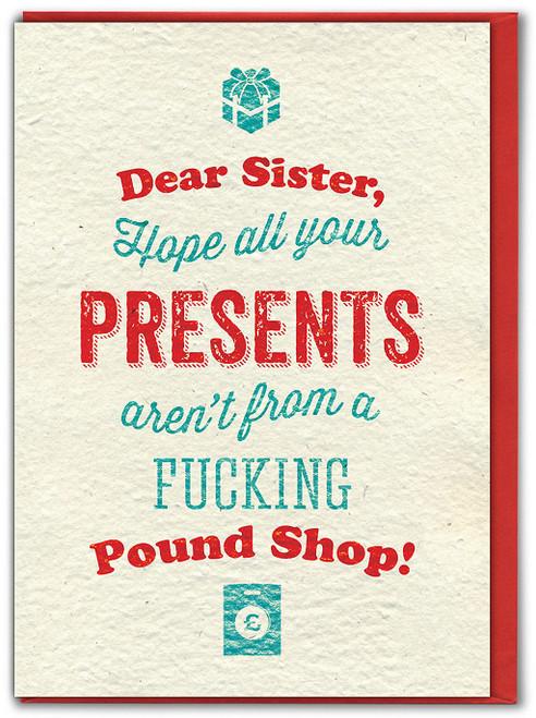 Sis Pound Shop Presents Christmas Card