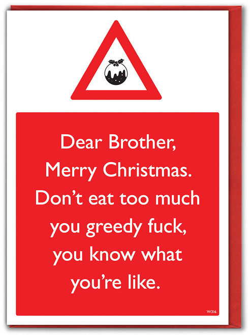 Brother Greedy Fuck Christmas Card