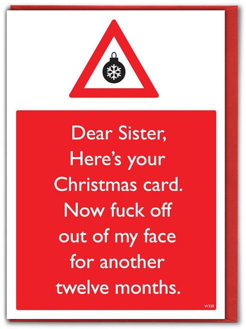 Sis Fuck Off 12 Months Christmas Card
