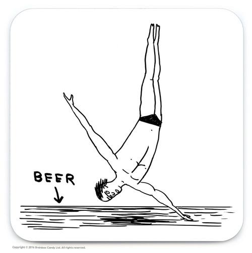 David Shrigley Beer Diver Coaster
