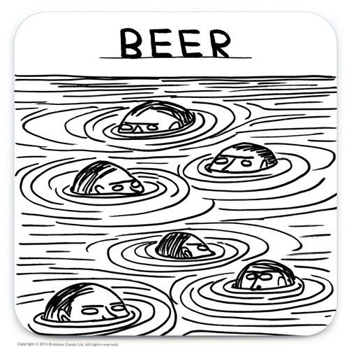 David Shrigley Beer Swimmers Coaster