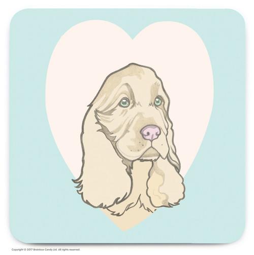 Cute Spaniel Heart Coaster