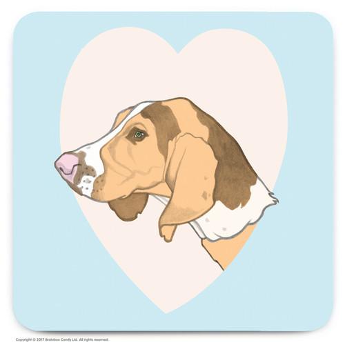 Cute Beagle Heart Coaster