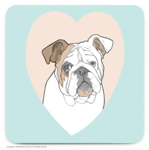 Cute Bulldog Heart Coaster