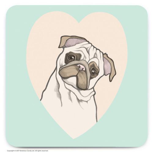 Cute Pug Heart Coaster