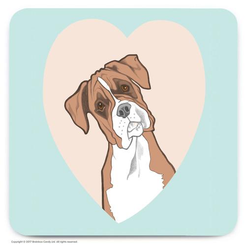Cute Boxer Heart Coaster