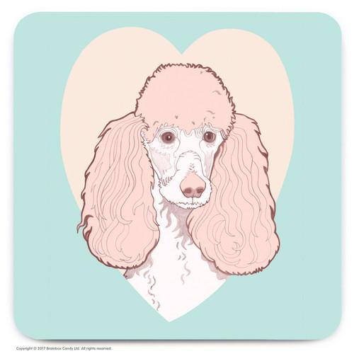 Cute Poodle Heart Coaster