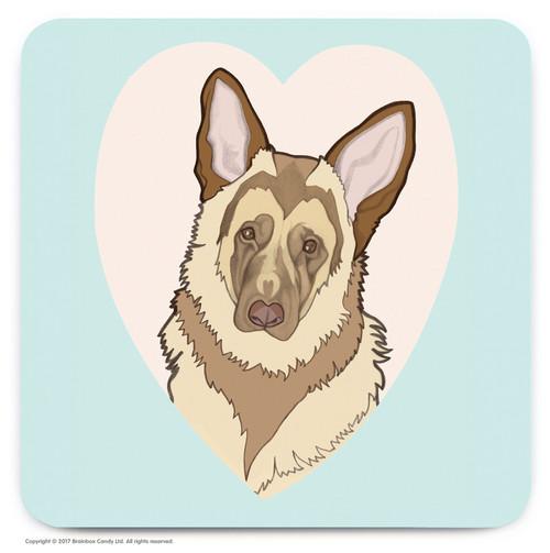 Cute German Shepherd Heart Coaster