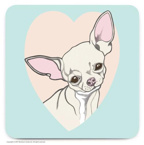 Cute Chihuahua Heart Coaster