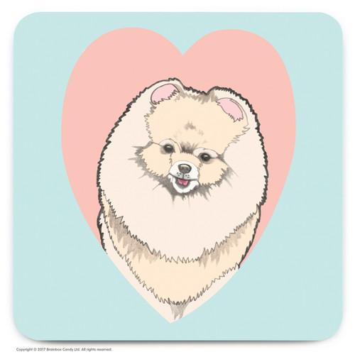 Cute Pomeranian Heart Coaster