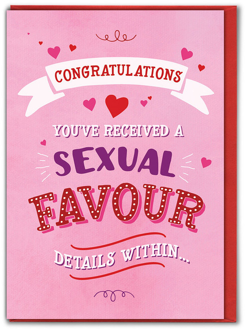 Sexual Favour Details Within Valentine's Day Greetings Card